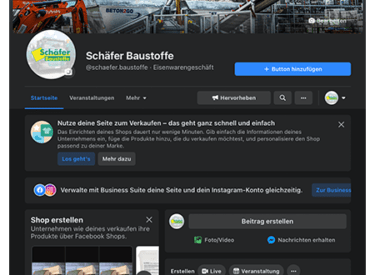 Facebook Profil Betreuung – Baustoffe Schäfer