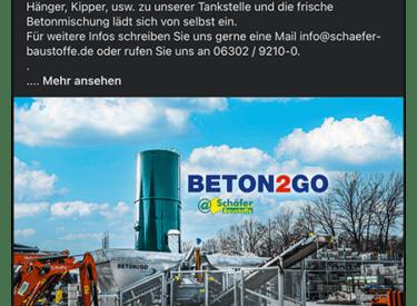 Baustoffe Schäfer – Onlinekampagne – Beton2Go