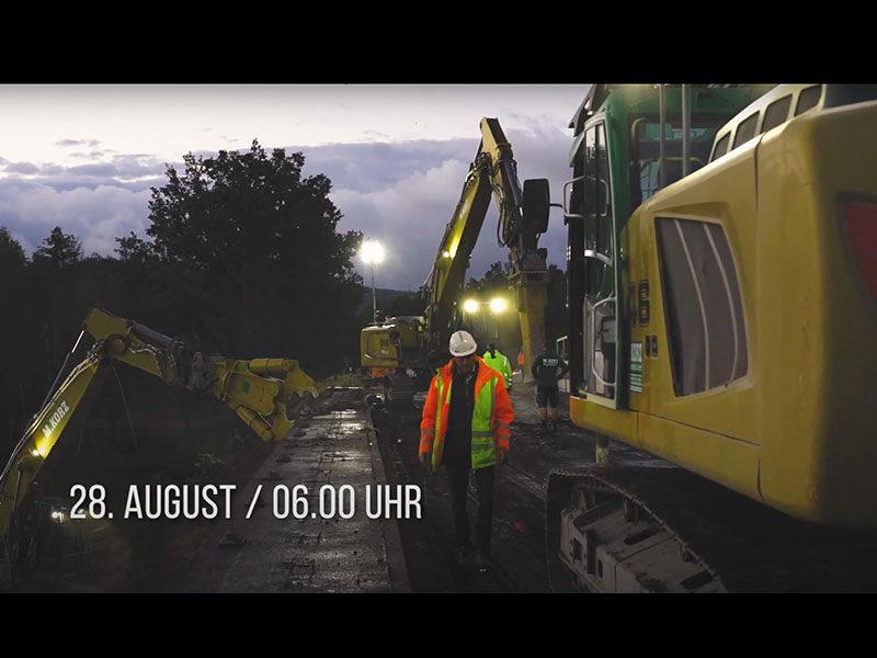 Baggerbetrieb Korz GmbH – Abbruch Autobahnbrücke auf der A6