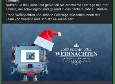 Online Weihnachtskarte – Wieland und Schultz KL